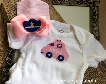 Police Coming home outfit!  Pink and white striped hospital bow hat with police hat for a newborn girl, police car onesie