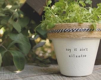 """4"""" Say it Aint Cilantro » Cilantro Herb Indoor and Outdoor Pot or Planter"""
