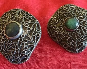 Silver Filigree clip earrings