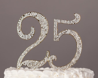 25 Cake Topper, 25th Birthday or Anniversary Party Decorations, Crystal Rhinestone Gold Metal Number, Party Supplies, Centerpiece Ideas