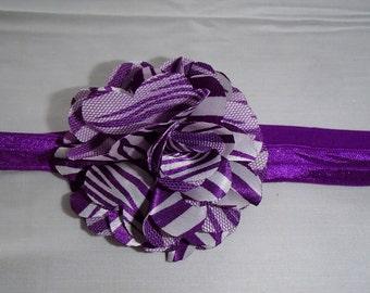 Headband, Flower, Purple/White