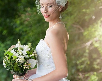 Guipure orchid lace with vintage petals and removable wide visor veil. Bridal Headpiece  - Aimee