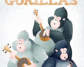 A Band of Gorillas | Collective Nouns | Childrens Poster | Gorillas Illustration