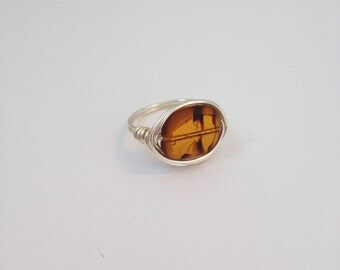 Glass Designed Wire Wrapped Ring