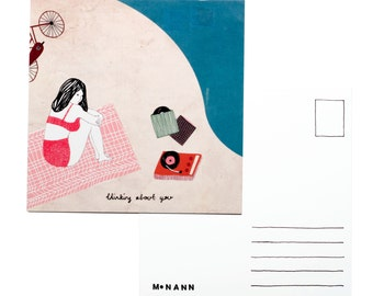 Illustration postcard - Thinking about you
