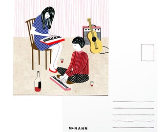 Illustration postcard - Girlband
