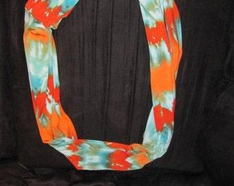 Blue-Orange Tie Dye Infinity Scarf