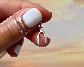 Wishbone Necklace - Sterling Silver Wishbone Necklace - Dainty Charm Necklace - Silver Charm Necklace
