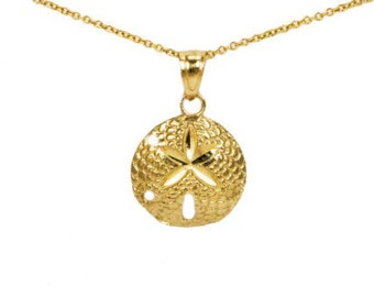 14k Yellow Gold Dainty Sand-Dollar Necklace