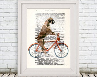 Boxer on bicycle Print, Boxer Dog, Digital Pantings by Coco de Paris