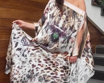 Natural silk kaftan