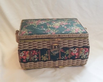 1960s Cottage Chic Floral Fabric and Wicker Sewing Basket and Supplies