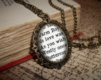 The Princess Bride Jewellery, Farm Boy and Buttercup, As you wish, Princess Bride Necklace, Westly Necklace, Book Quote Necklace, Book Page