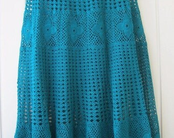 "Skirt, crochet skirt, lace skirt, long skirt, delicate skirt, green skirt,""Emerald"", Women's clothing, summer skirt, Handmade, ready to ship"