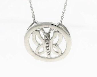 Circle Butterfly Diamond Accent  pendant - 10k White Gold Butterfly Diamond Pendant