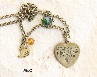 keep calm necklace / handstamped jewerly / aledi / veg