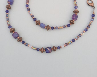 Copper And Purple Beaded Necklace