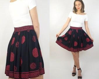 Vintage Grecian Goddess Black and Pink Midi Skirt