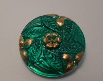 Czech glass button - green, gold - 27mm