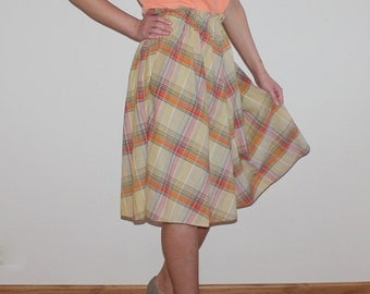 Lady like St Michael Tartan Plaid Summer Skirt A-Line Beige Orange Checkered Cotton Blend Elastic High Waist Large Size