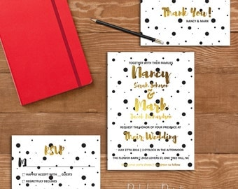 Polka Dot Wedding Invitation Chic Wedding Invitation Black White and Gold Wedding Invitation Modern Wedding Invitation Custom Wedding Invite