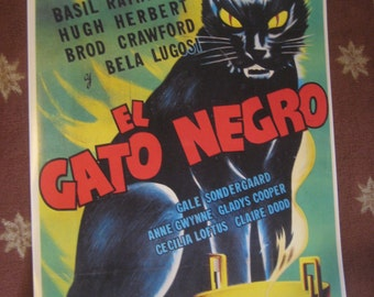 El Gato Negro / The Black Cat Movie Poster 24x33in Bela Lugosi universal pictures monsters