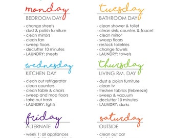 Clean Home Happy Home Cleaning Schedule