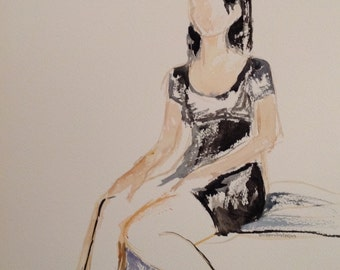 giclee reproduction of original watercolor of girl in black dress