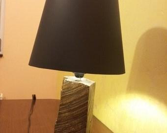 Oak wood table lamp