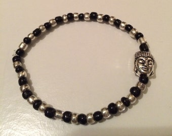 Silver and Black Buddha Bracelet
