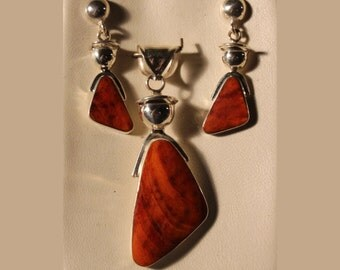 Spiny Oyster Pendant and Earrings in Fine 950 Sterling Silver