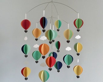 Hot air balloon mobile in soft contemporary brights - baby mobile- mid century modern- scandi baby- oh the places you will go