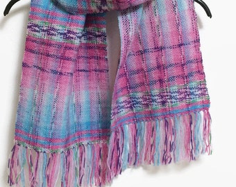 Handwoven Short Scarf, OOAK Petit Scarf, KAWAII Eyecathing Candy Pink and Aqua Pattern, Lightweight and skinny