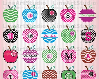 Monogram Apple SVG Frames - Svg Files - SVG Cutting Files - Cutting Files for Silhouette Cameo or Cricut - Instant Download -