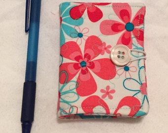 Sewing Needle Book - pink and aqua floral fabric
