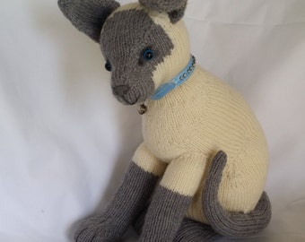 Cream and Grey Hand Knitted Cat