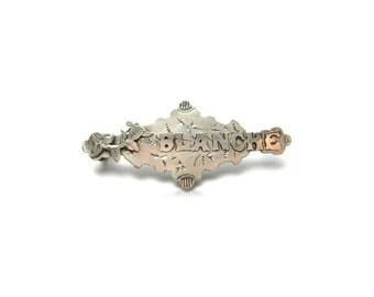 Victorian Silver Brooch | Antique Silver Brooch | Blanche | Silver Brooch | Silver Pin | Victorian Brooch | Victorian Pin | Name Brooch