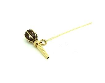 Antique Gold Charm Necklace | Estate Gold Charm | Victorian Gold Necklace | Antique Hairworks Necklace | Watch Key | Gold Pendant
