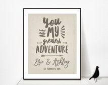 1 Year Anniversary Gift For Man : 2nd Anniversary Gift for Her Gift, You are My Greatest Adventure Sign ...
