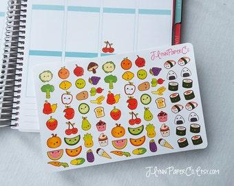 75 Kawaii Food Stickers, Kawaii Stickers, Food Stickers, Cute Stickers, Planner Stickers, Small Stickers, Fun, Colorful