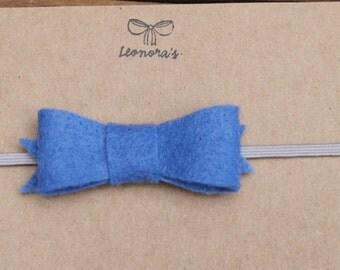 Blue Felt Bow with Gray 13in Headband