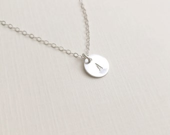 Sterling Silver Initial Disc Necklace, Personalized Disc Necklace, Letter Disc Necklace, Alphabet Charm Necklace, Custom Charm,Birthday Gift