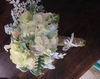 Stunning Bouquet of soft colours with twirls of pearls