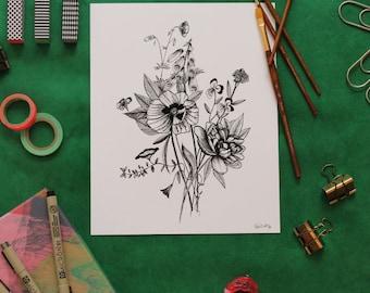 Flower Ink Drawing, Floral Art Print #3 - 8x10