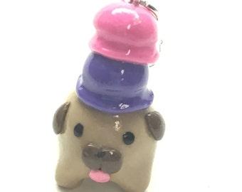 Polymer Clay Double Scoop Ice Cream Pug Charm