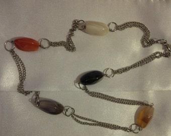 Semi Precious Stones on Silver Necklace