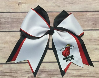 Miami Heat 3 Layer Ribbon Embroidered Logo Bow