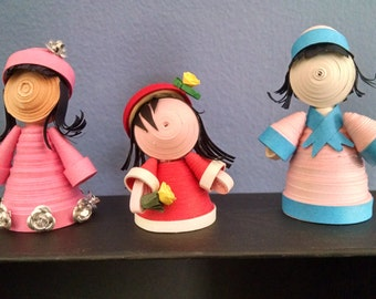 Miniature quilled paper art dolls (3 in a set)