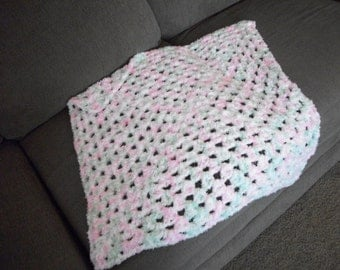 Pink and Green Granny Square Blanket