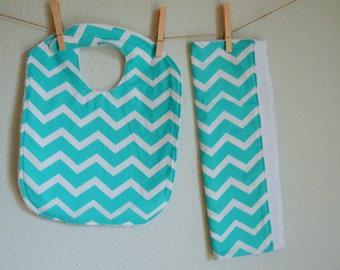Aqua Chevron Bib and Burp Cloth Set- Baby Girl- Baby Boy- Baby Gift